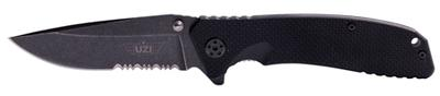 Uzi Accessories UZKFDR017 Tactical Folding Knife Stainless Steel Straight/Serrated Combo G10 Blk