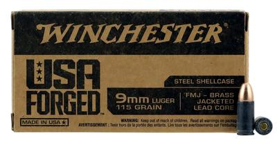 Winchester Ammo WIN9SV USA Forged 9mm Luger 115 GR Full Metal Jacket 50 Bx/ 10 Cs