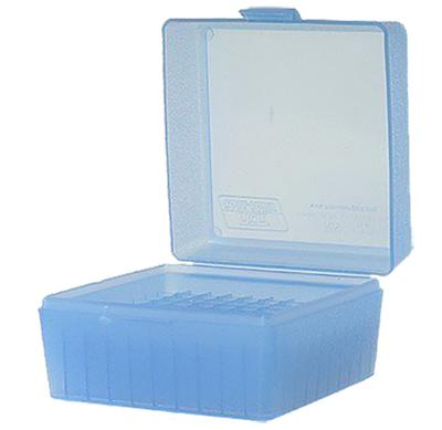 MTM RM10024 R-100 Rifle Ammo Box Med Cal 243/308 100rd Poly Clear Blue