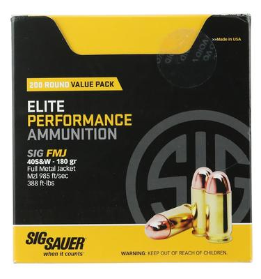 Sig Sauer E40SB2200 Elite Ball 40 Smith & Wesson (S&W) 180 GR Full Metal Jacket 200 Bx/  Cs