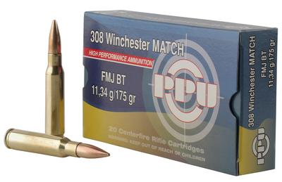 PPU PPM3083 Match 308 Winchester/7.62 NATO 175 GR Full Metal Jacket Boat Tail 20 Bx/ 10 Cs