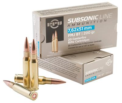 PPU PPS762 Subsonic 308 Winchester/7.62 NATO 200 GR Full Metal Jacket Boat Tail 20 Bx/ 10 Cs