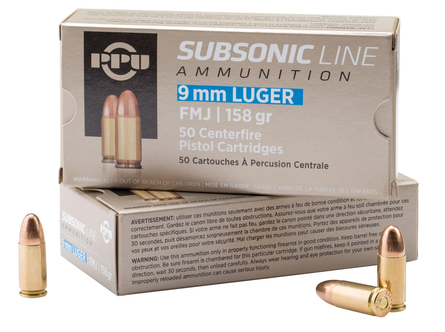 Ppu Pps9mm Subsonic 9mm Luger 158 Gr Full Metal Jacket 50 Bx/20 Cs