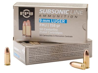 PPU PPS9MM Subsonic 9mm Luger 158 GR Full Metal Jacket 50 Bx/ 20 Cs