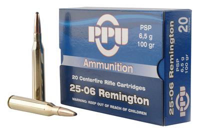 PPU PP2506P Standard Rifle 25-06 Remington 100 GR Pointed Soft Point 20 Bx/ 10 Cs
