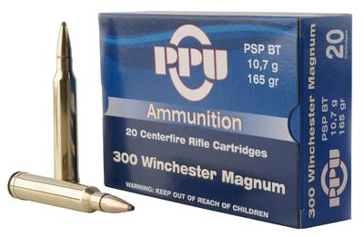PPU PP3002 Standard Rifle 300 Winchester Magnum 165 GR Pointed Soft Point Boat Tail 20 Bx/ 10 Cs