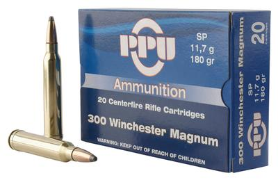 PPU PP3003 Standard Rifle 300 Winchester Magnum 180 GR Soft Point 20 Bx/ 10 Cs