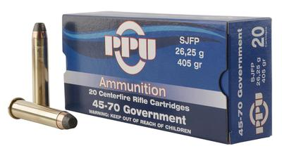 PPU PP30302 Standard Rifle 45-70 Government 405 GR Semi Jacketed Flat Point 10 Bx/ 20 Cs