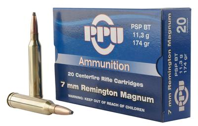 PPU PP3082 Standard Rifle 7mm Remington Magnum 174 GR Pointed Soft Point 20 Bx/ 10 Cs