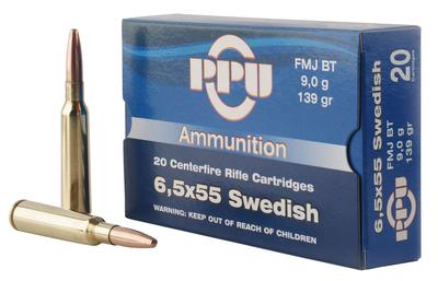 PPU PP30062 Metric Rifle 6.5x55 Swedish 139 GR Full Metal Jacket 20 Bx/ 10 Cs