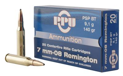 PPU PP708 Metric Rifle 7mm-08 Remington 140 GR Pointed Soft Point Boat Tail 20 Bx/ 10 Cs