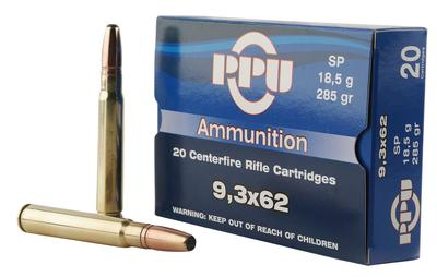 PPU PP9362 Metric Rifle 9.3mmx62 Mauser 285 GR Soft Point 20 Bx/ 10 Cs