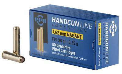 PPU PPH762N Handgun 7.62x38mmR Nagant 98 GR Flat Point Jacketed 50 Bx/ 10 Cs