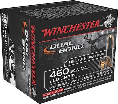 Winchester Ammo S460SWDB Elite 460 Smith & Wesson Magnum 260 GR Dual Jacket Hollow Point 20 Bx/10 Cs