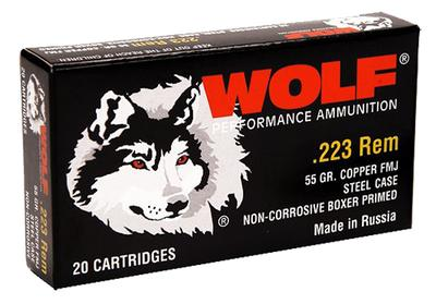 Wolf 22355FMJTINS Performance 223 Remington/5.56 NATO FMJ 55 GR 500 Rds