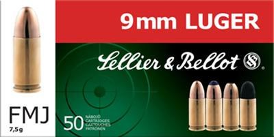 Sellier & Bellot SB9B Handgun 9mm 124 GR FMJ 50 Bx/ 20 Cs