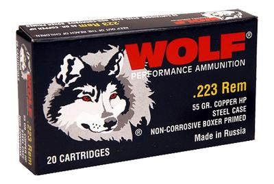 Wolf 22355HP Performance 223 Remington/5.56 NATO Bimetal Jacket 55 GR Hollow Point 500 Rds