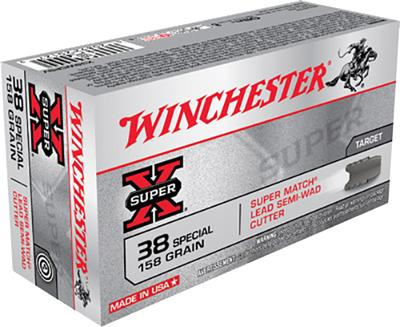 Winchester Ammo X38WCPSV Super-X 38 Special 158 GR Lead Semi-Wadcutter 50 Bx/ 10 Cs