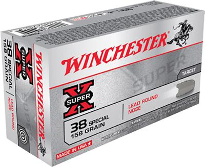Winchester Ammo X38S1P Super-X 38 Special 158 GR Lead Round Nose 50 Bx/ 10 Cs
