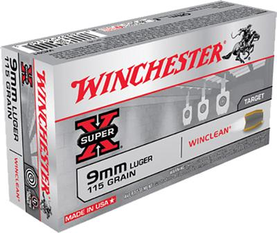 Winchester Ammo WC91 WinClean 9mm Luger 115 GR Brass Enclosed Base 50 Bx/ 10 Cs