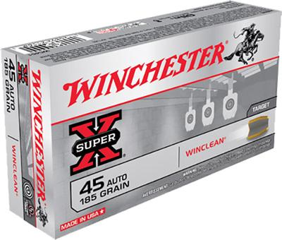 Winchester Ammo WC451 WinClean 45 Automatic Colt Pistol (ACP) 185 GR Brass Enclosed Base 50 Bx/ 10 Cs