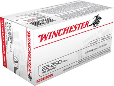 Winchester Ammo USA222502 Best Value 22-250 Remington 45 GR Jacketed Hollow Point 40 Bx/ 10 Cs