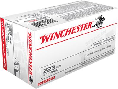 Winchester Ammo USA2232 Best Value 223 Remington/5.56 NATO 45 GR Jacketed Hollow Point 40 Bx/ 10 Cs