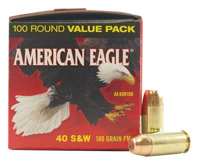 Federal AE40R100 American Eagle 40 Smith & Wesson (S&W) 180 GR Full Metal Jacket 100 Bx/ 5 Cs