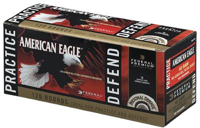 Federal PAE40180 American Eagle 40 Smith & Wesson (S&W) 180 GR Full Metal Jacket/Hydro-Shok JHP 120 Bx/ 4 Cs