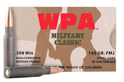Wolf MC308FMJ145 Military Classic 308 Winchester/7.62 NATO 145 GR Full Metal Jacket 500 Rds