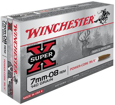 Winchester Ammo X708LF Super-X 7mm-08 Remington 140 GR Power Core 20 Bx/ 10 Cs