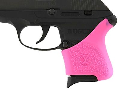Hogue 18117 Ruger LCP HandAll Grip Sleeve w/ Crimson Trace Button Pink Rubber
