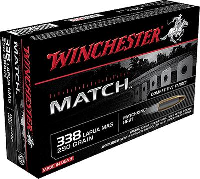 Winchester Ammo S338LM Match 338 Lapua Magnum 250 GR Boat Tail Hollow Point 20 Bx/10 Cs