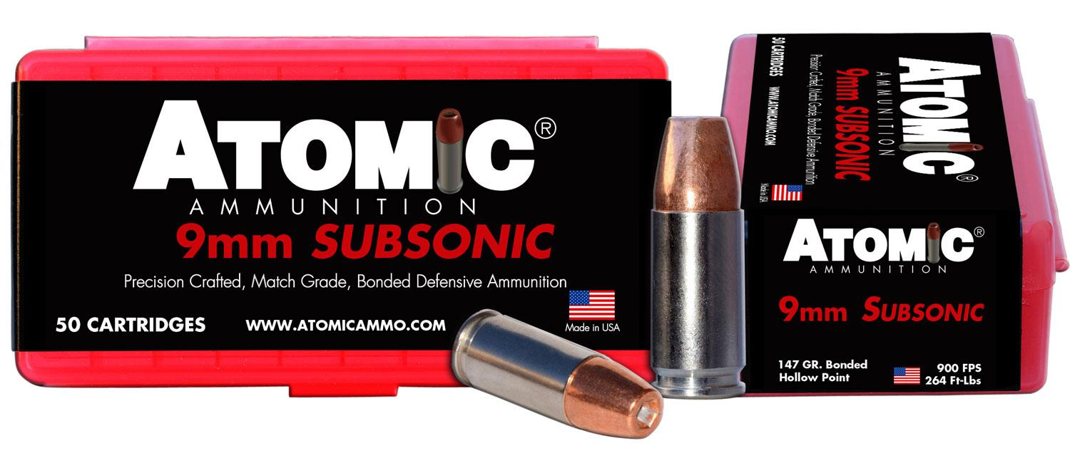 Atomic 00438 Subsonic 9mm Luger 147 Gr Bonded Match Hollow Point 50 Bx/10 Cs