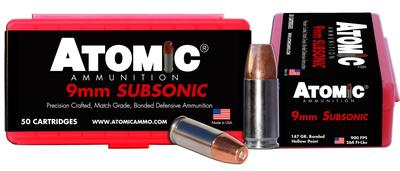 Atomic 00438 Subsonic 9mm Luger 147 GR Bonded Match Hollow Point 50 Bx/ 10 Cs