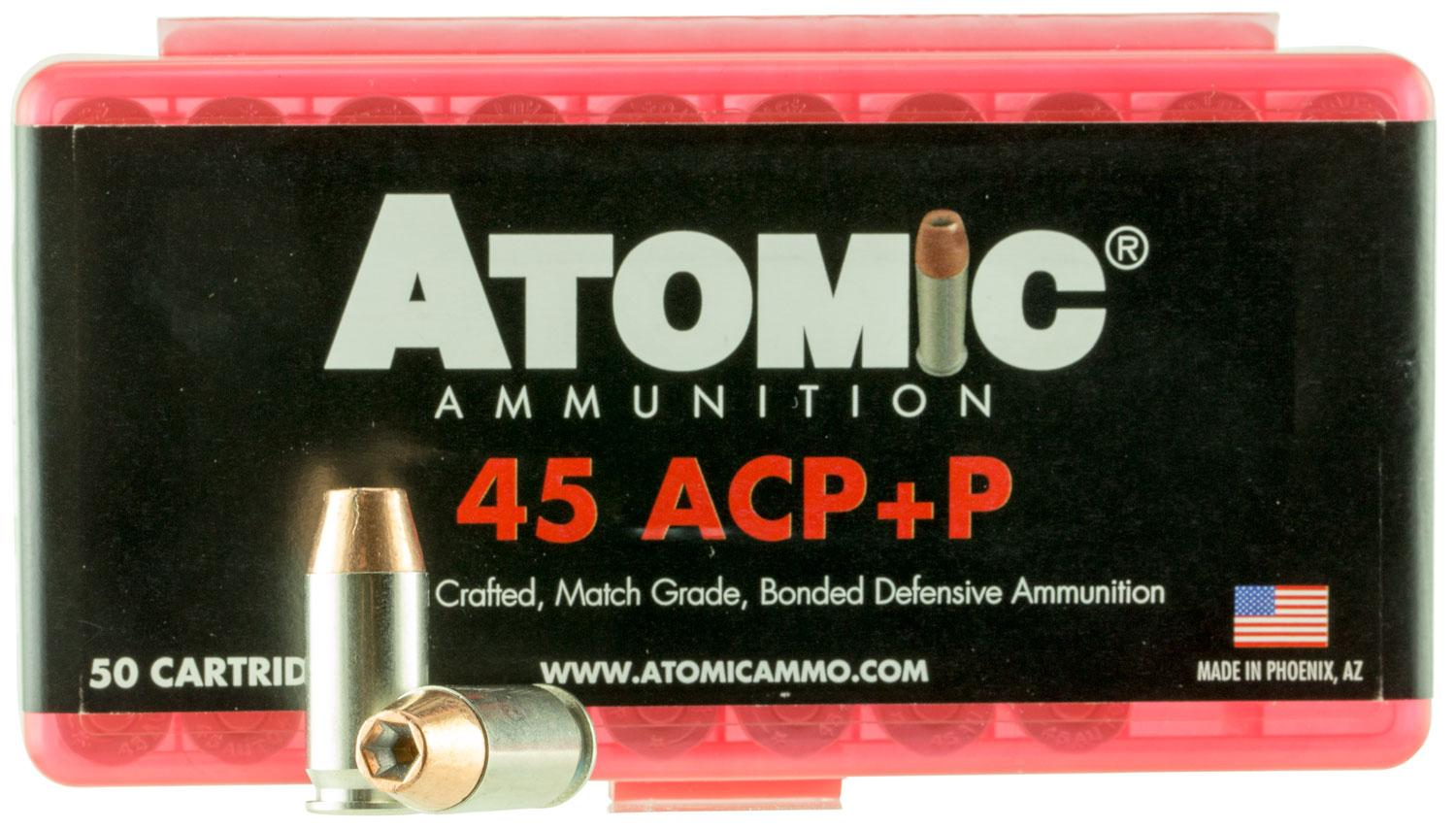 Atomic 00412 Defense 45 Acp + P 185 Gr Bonded Mhp 50 Bx/10 Cs