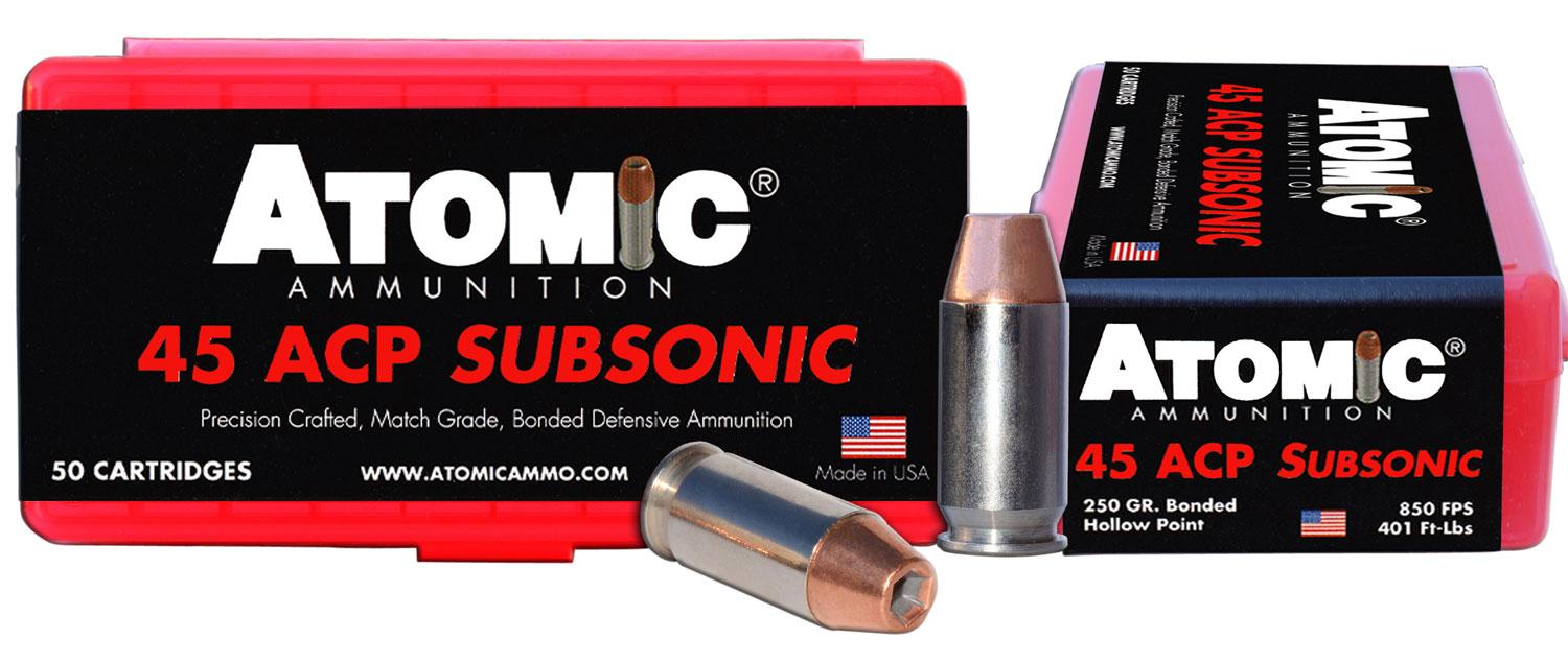 Atomic 00439 Subsonic 45 Automatic Colt Pistol (Acp) 250 Gr Bonded Match Hollow Point 50 Bx/10 Cs
