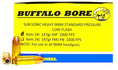 Buffalo Bore Ammunition 24I/20 9mm Luger 9mm Luger 147 GR Jacketed Hollow Point 20 Bx/ 12 Cs