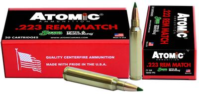 Atomic 00459 Match 223 Remington/5.56 NATO 77 GR Tipped MatchKing 20 Bx/ 10 Cs