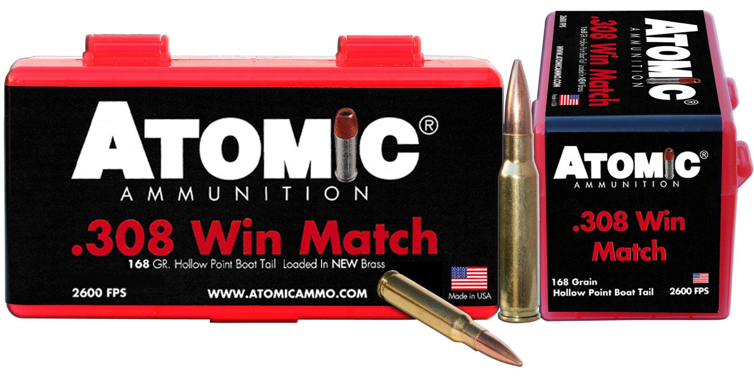 Atomic 00426 Match 308 Winchester/7.62 Nato 168 Gr Hollow Point Boat Tail 50 Bx/10 Cs