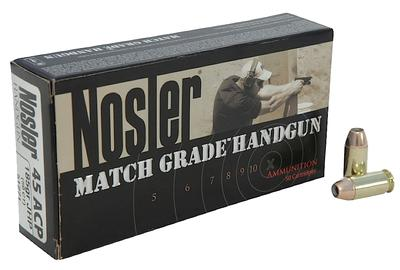 Nosler 51271 Match Grade 45 ACP Jacketed Hollow Point 185gr 50Box/10Case