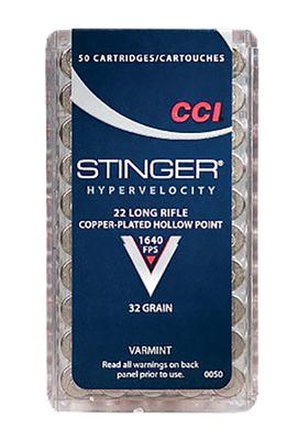 CCI 0050 Varmint 22 LR Stinger Copper-Plated HP 32GR 50 Box/100 Case