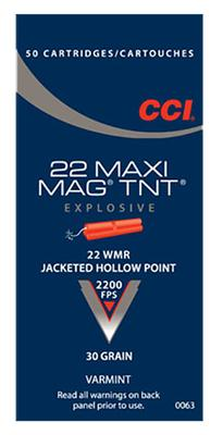 CCI 0063 Varmint Maxi Mag 22 Win Mag Jacketed Hollow Point 30 GR 50Box/40Case