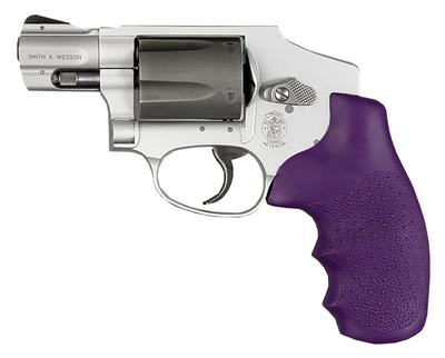 Hogue 60006 S&W J Frame Round Butt Grip w/Finger Grooves Purple Rubber