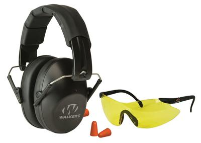 Walkers Game Ear GWPFPM1GFP Passive Pro Safety Combo Kit Earmuff/Plugs/Glasses 31 dB Black