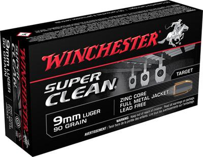 Winchester Ammo W9MMLF Super Clean 9mm Luger 90 GR Full Metal Jacket 50 Bx/ 10 Cs