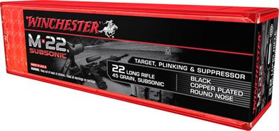 Winchester Ammo S22LRTSUP M-22 Subsonic 22 Long Rifle 40 GR Lead Round Nose 100 Bx/ 20 Cs
