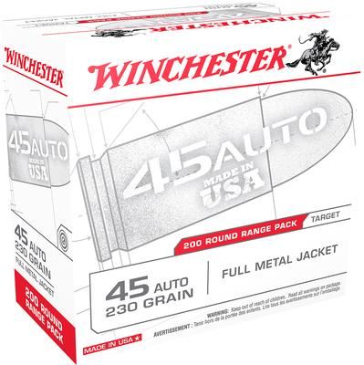 Winchester Ammo USA45W USA Centerfire 45 Automatic Colt Pistol (ACP) 230 GR Full Metal Jacket 200 Bx/ 3 Cs
