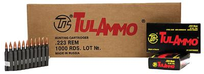 Tulammo TA223621 Centerfire Rifle 223 Remington/5.56 NATO 62 GR Hollow Point 20 Bx/ 50 Cs