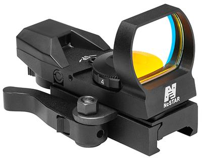 NCStar D4BGQ Four Reticle Reflex 1x 24x34mm Obj Unlimited Eye Relief 3 MOA Black